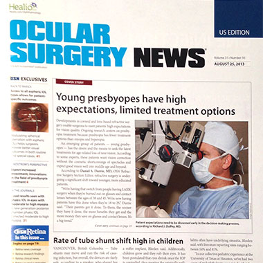 Dr. Richard Duffey on the cover of Ocular Surgery News About Presbyopes expectations